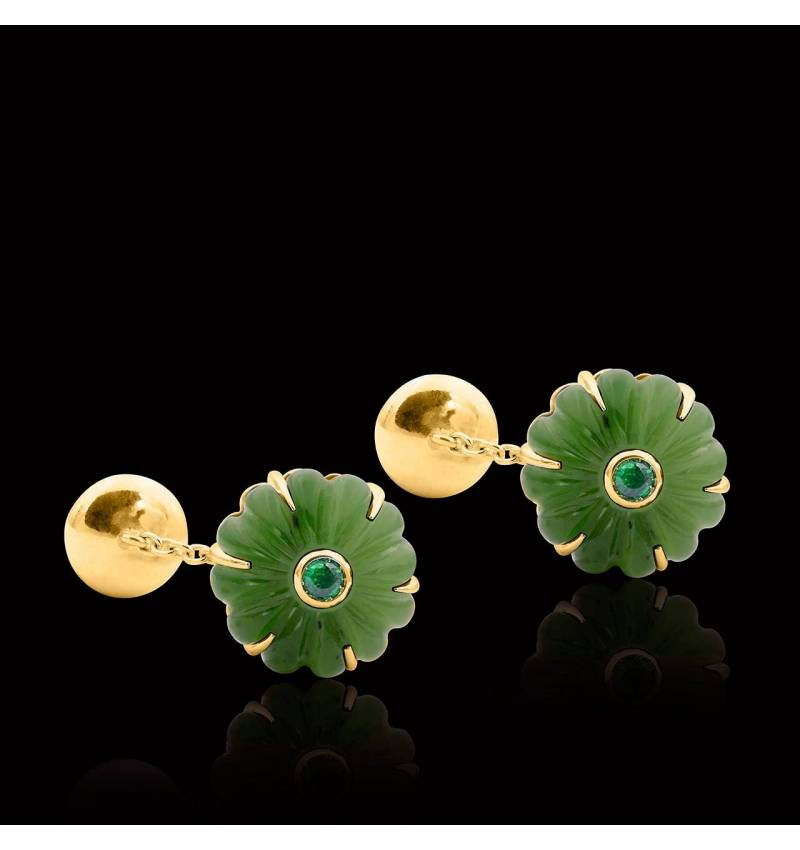 Vergoldete Manschettenknöpfe aus Silber mit Jade Bellis