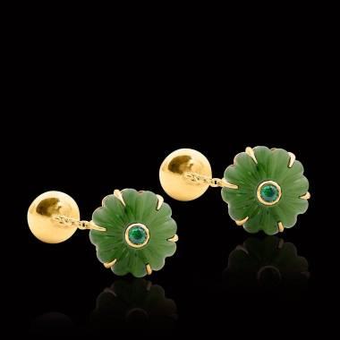Rosévergoldete Manschettenknöpfe aus Silber mit Jade Bellis