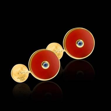 Vergoldete Manschettenknöpfe aus Silber mit Karneol Circus