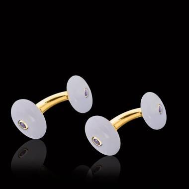 Vergoldete Manschettenknöpfe aus Silber mit Chalzedon Orbis