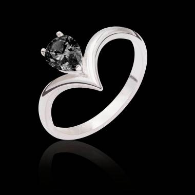 Bague diamant noir Flavie solo