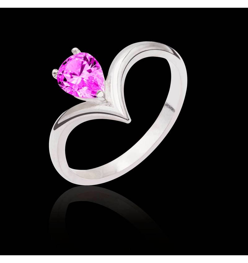 Bague saphir rose Flavie solo