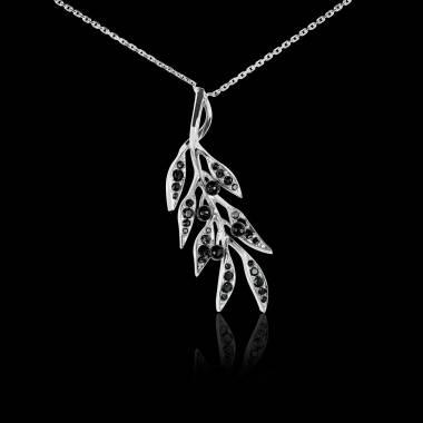 Pendentif diamant noir Branche d'olivier