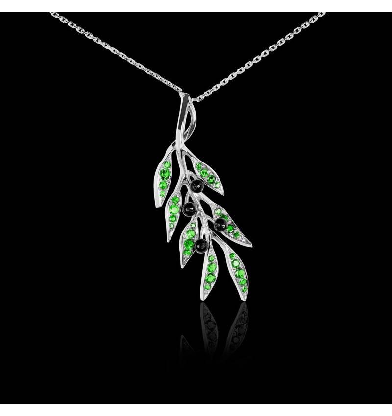 Pendentif tsavorite Branche d'olivier
