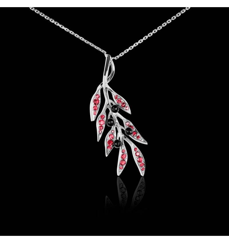 Pendentif rubis Branche d'olivier
