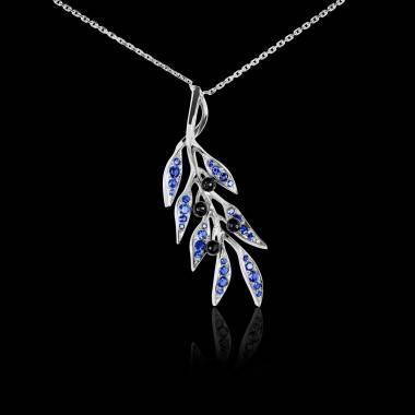 Pendentif saphir bleu Branche d'olivier