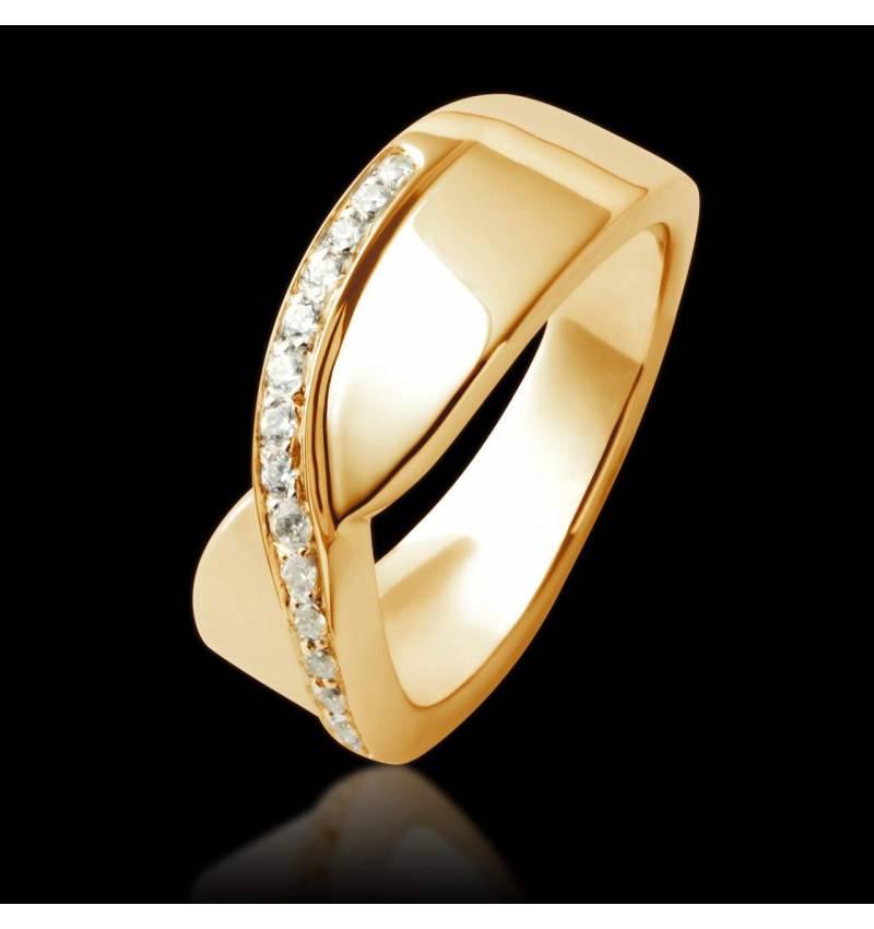 Trauring in Gelbgold mit Diamanten  Eternelle