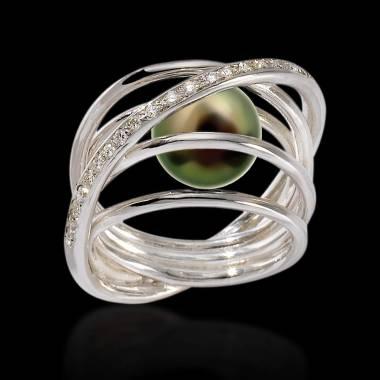 Verlobungsring mit schwarzer Perle Cache Cache
