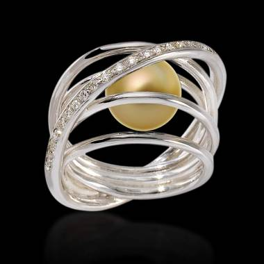 Goldener Perlenring Cache Cache