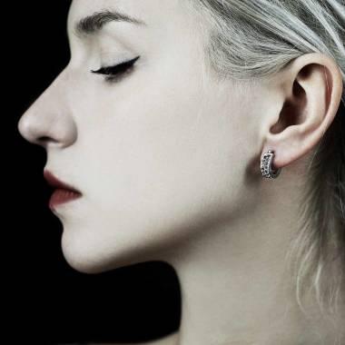Boucles d'oreilles diamant noir Fuseaux