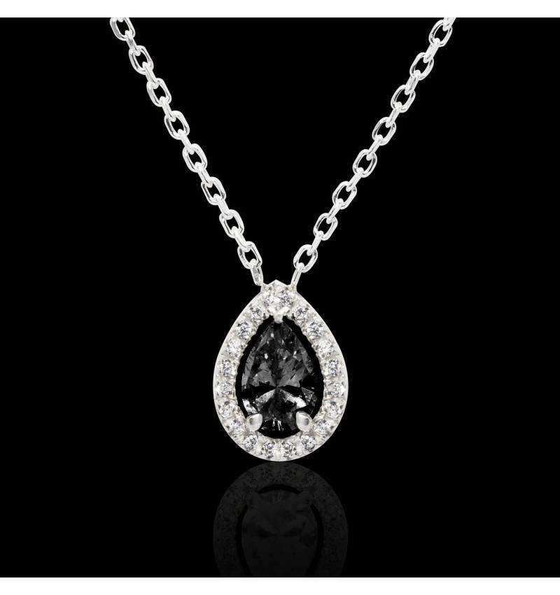 Pendentif diamant noir poire Soleil