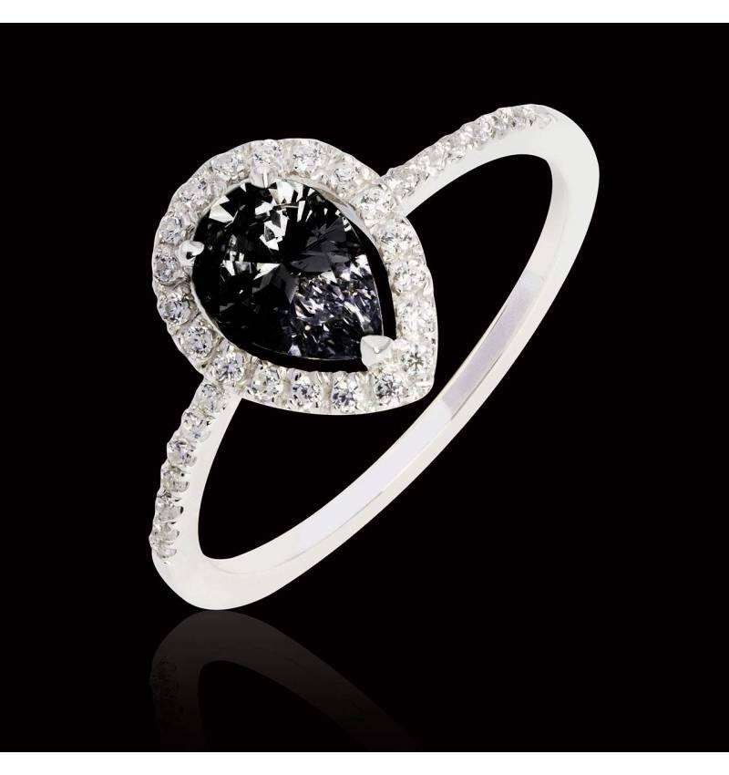 Bague diamant noir poire Sandra