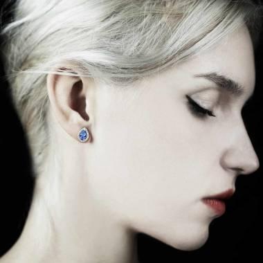 Boucles d'oreilles saphir bleu poire soleil