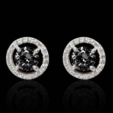 Boucles d'oreilles diamant noir Soleil
