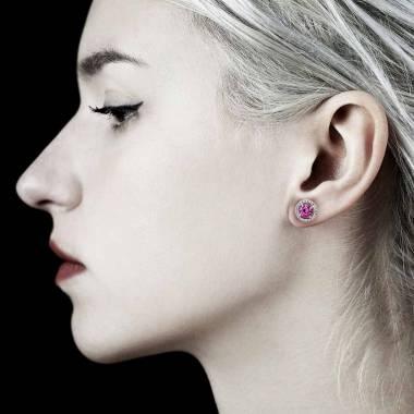 Boucles d'oreilles saphir rose Soleil