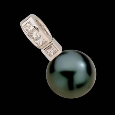 Anhänger mit schwarzer Tahiti-Perle und Diamant Princess Bora Bora