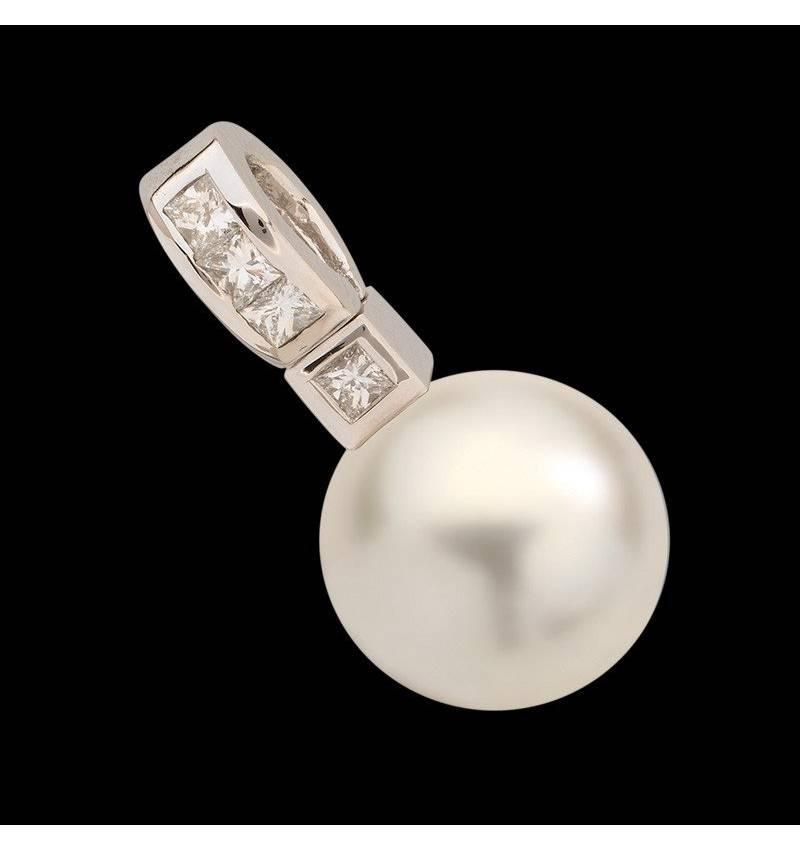 Anhänger mit weisser Perle und Diamant Princess Bora Bora