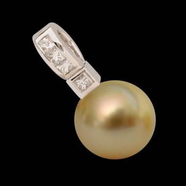 Anhänger mit goldener Perle und Diamant Princess Bora Bora