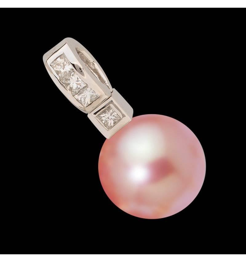 Anhänger mit rosa Perle und Diamant Princess Bora Bora