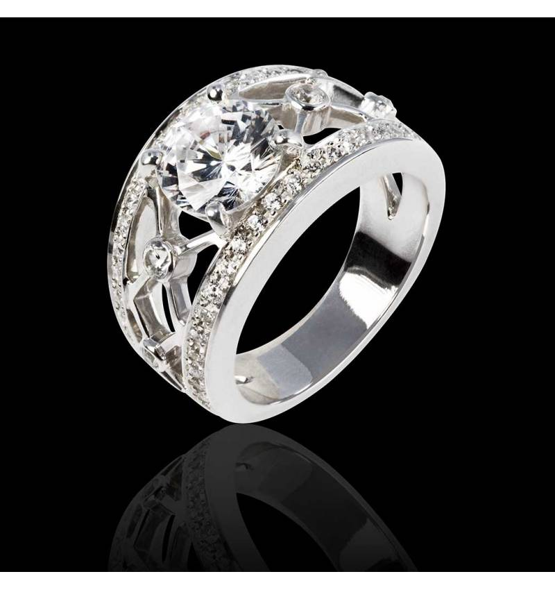Runder Diamantring in Weissgold Régina Suprema