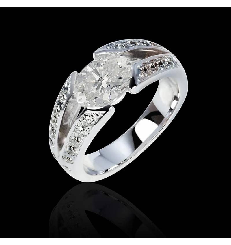 Verlobungsring mit Diamant in Weissgold Isabelle