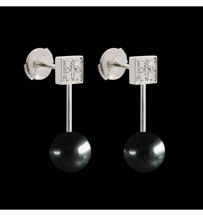 Boucles d'oreilles perle noire Tahiti Archipel