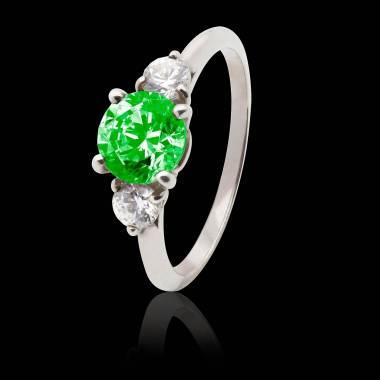 Verlobungsring mit Smaragd in Weissgold Nayla