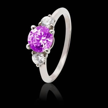 Verlobungsring mit rosa Saphir in Weissgold Nayla