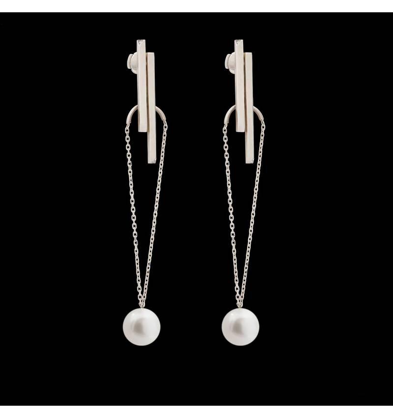 Boucles d'oreilles Art déco chaîne perle blanche