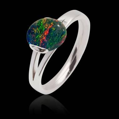 Bague opale noire Florine
