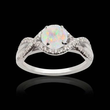 Bague opale blanche Juliette