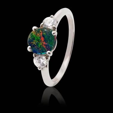 Bague opale noire Nayla