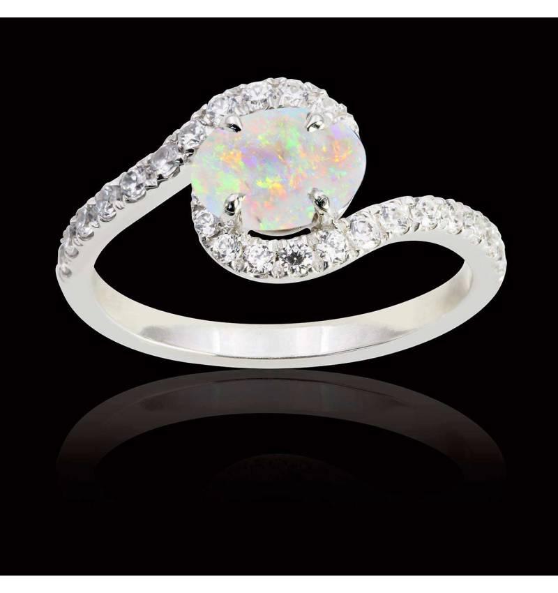 Bague opale blanche Lilou