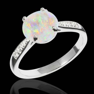 Bague opale blanche Angela