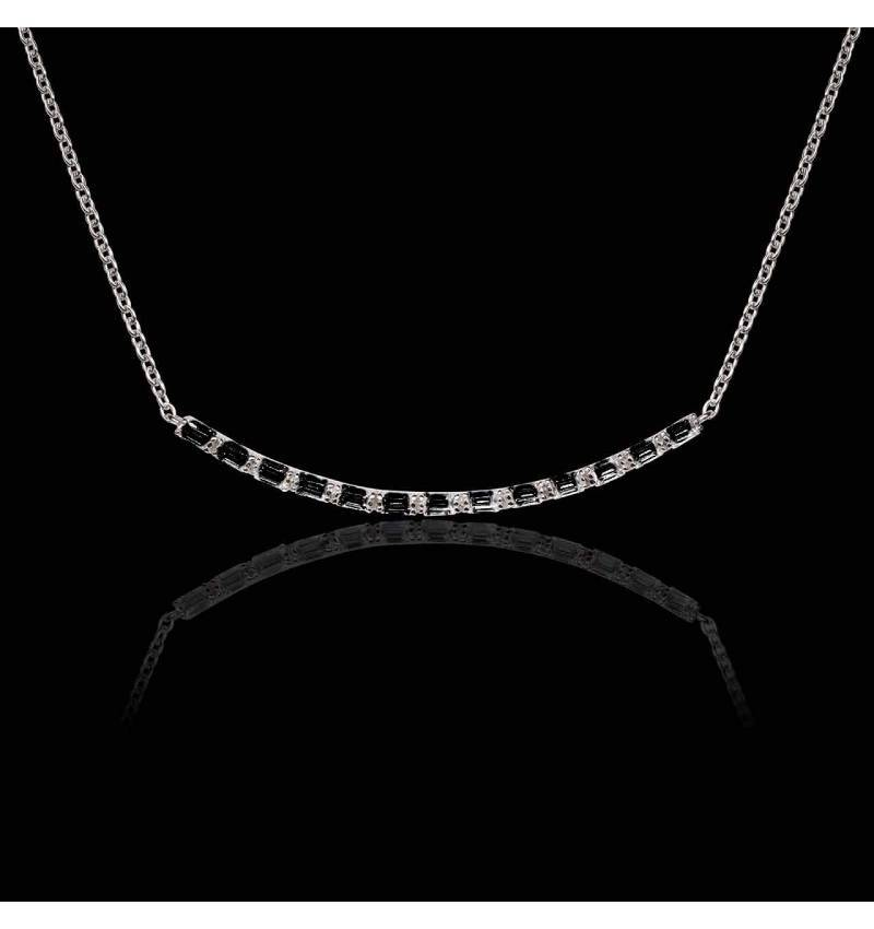 Collier diamant noir Ligne