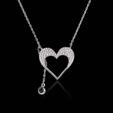 Pendentif diamant noir Coeur d'Amour