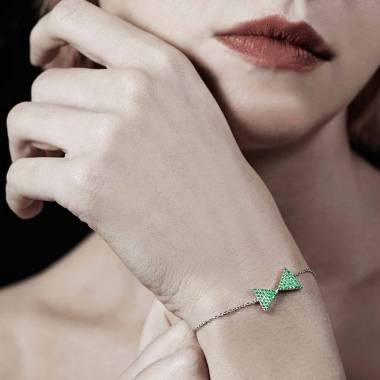 Bracelet émeraude Noeud Papillon