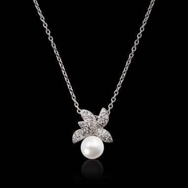 Pendentif perle blanche...
