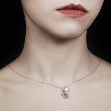 Pendentif perle gold Plume
