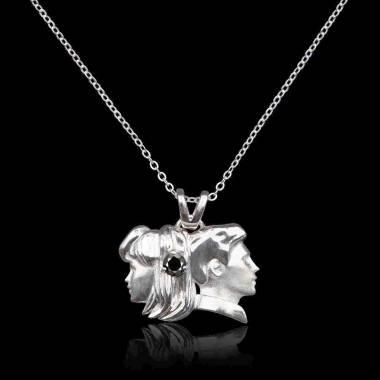 Pendentif diamant noir Gémeaux
