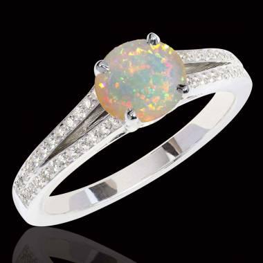 Bague opale blanche Marie