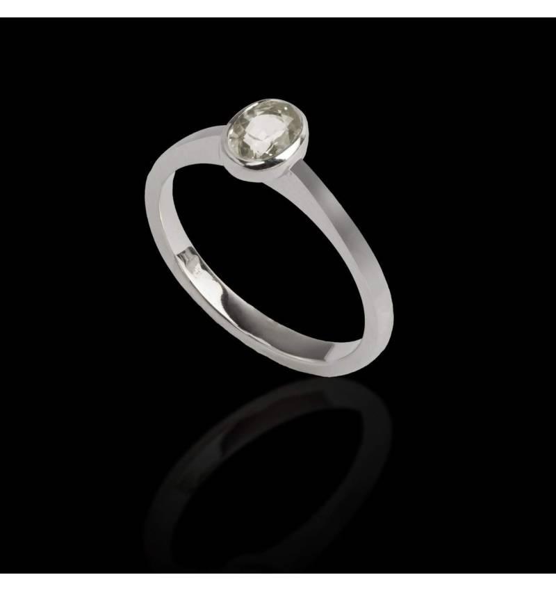 Ovaler Diamantsolitärring in Weissgold Moon Solo