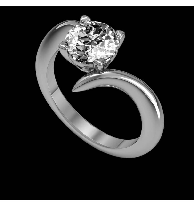 Verlobungsring mit Diamant in Weissgold Serpentine