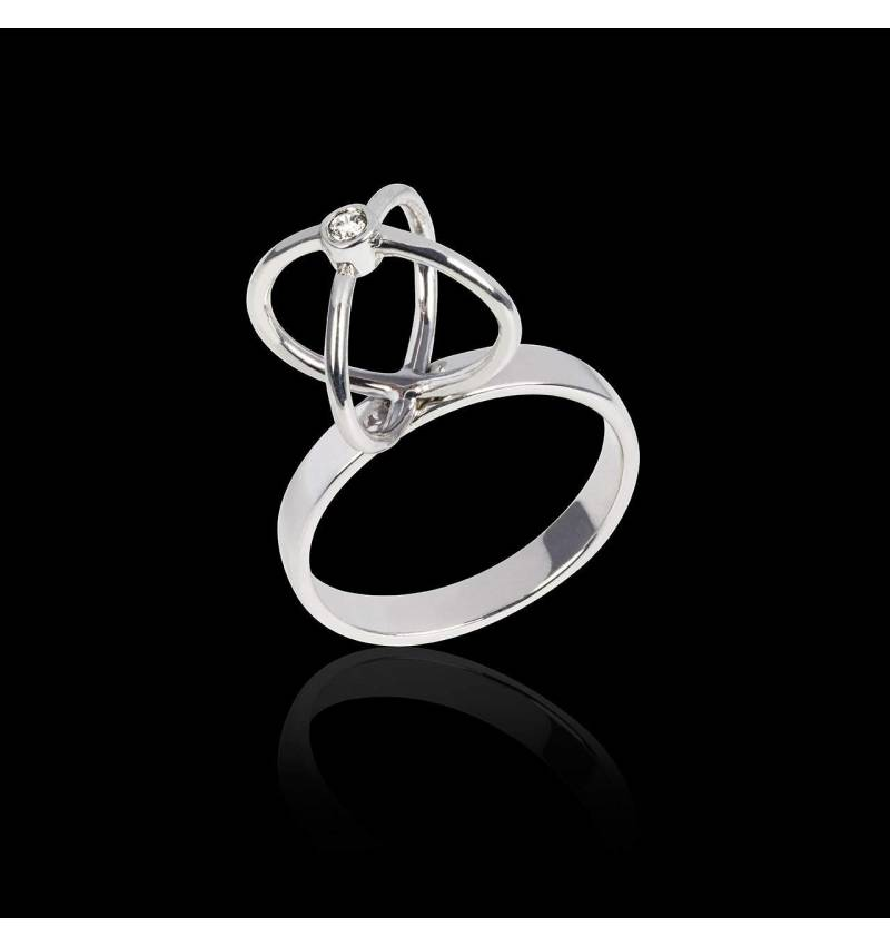 Diamantring in Weissgold Cage